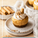 Mini pumpkin cheesecake on stacked plates, with text overlay.